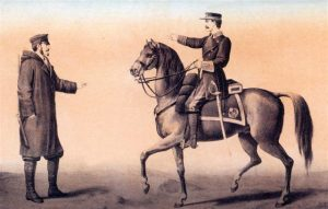 Oficial de sección a caballo y celador de línea