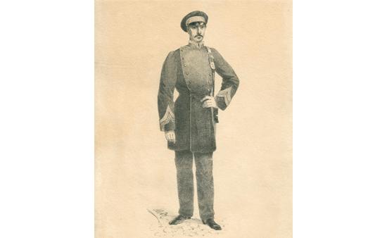 Dibujo original de uniforme de reparto de Cartero Urbano. 1856.