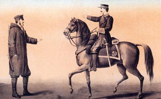 Oficiales de sección de Telégrafos. 1864
